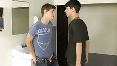 Young gay boy is being rudely fucking in his mouth in the bathroom