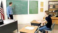 Gay teacher got on his knees and doing blowjob to his twink student